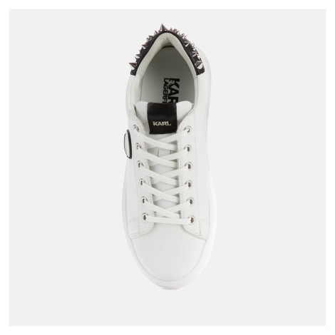 Karl Lagerfeld Women's Kapri Karl Ikonic Lo Lace Leather Flatform Trainers - White/Stud Tab - UK
