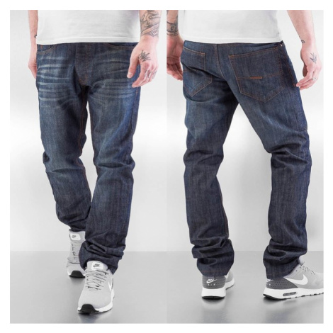 Rocawear / Straight Fit Jeans Leather Patch in blue