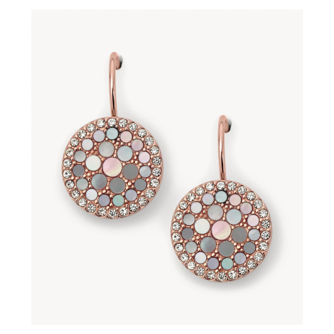 Fossil Women's Disc Drop Earrings - Pink Rose Gold