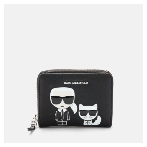 KARL LAGERFELD Women's K/Ikonik Small Folded Zip Wallet - Black
