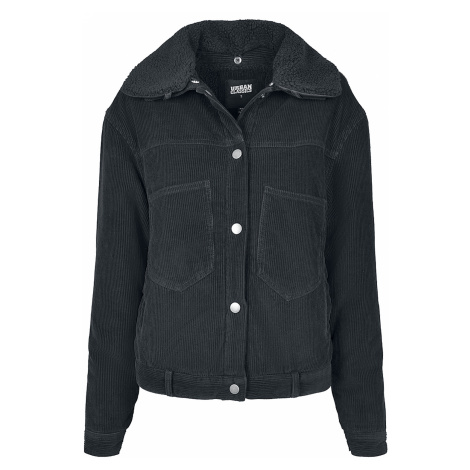 Urban Classics - Ladies Oversized Corduroy Sherpa Jacket - Girls jacket - black
