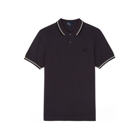 Fred Perry Twin Tipped Polo Black Grape men's Polo shirt in Grey