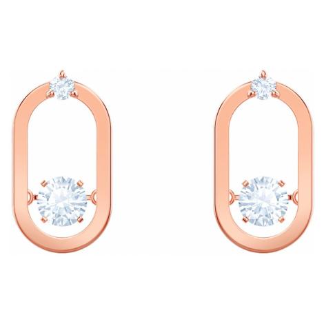 Sparkling Dance Pierced Earrings, White, Rose-gold tone plated Swarovski