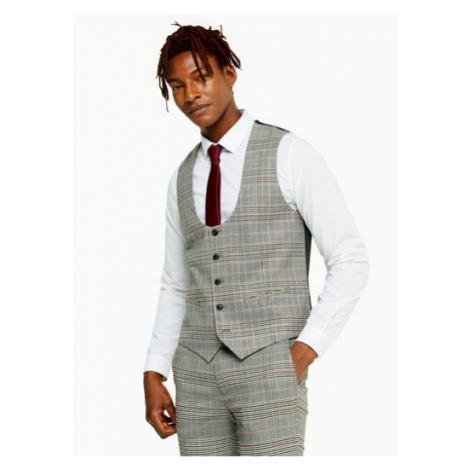 Mens Grey Stone Check Skinny Fit Suit Waistcoat, Grey Topman
