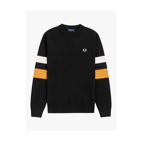 Fred Perry Striped Sleeve Sweatshirt, C 102 Black