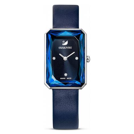 Uptown Watch, Leather strap, Blue, Stainless steel Swarovski