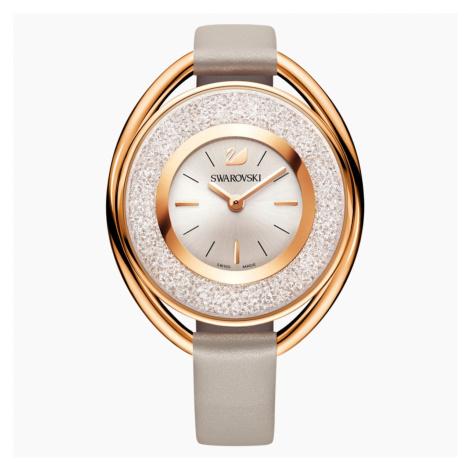 Crystalline Oval Watch, Leather strap, Grey, Rose-gold tone PVD Swarovski