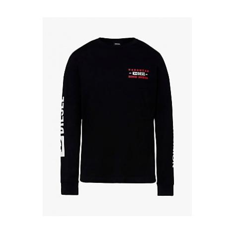 Diesel Long Sleeve Hardwear Division Tee, 900 Black