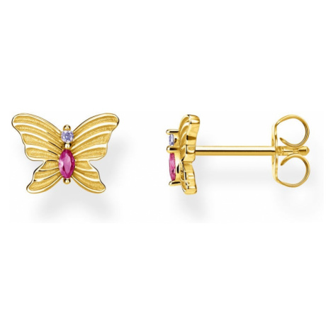 THOMAS SABO Gold Plated Silver Multicoloured Butterfly Earrings