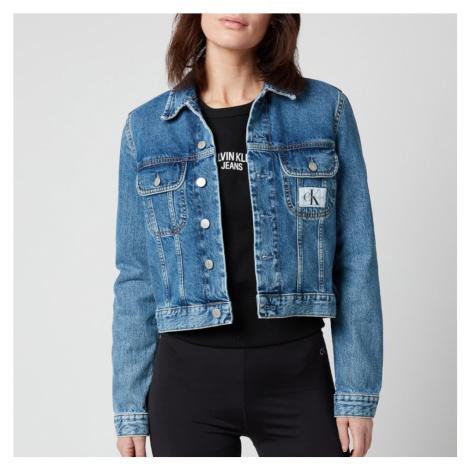 Calvin Klein Jeans Women's 90S Crop Trucker Jacket - Icon Mid Blue