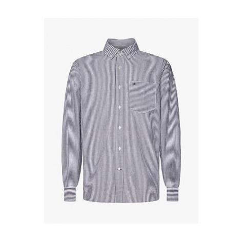 Calvin Klein Stripe Pocket Cotton Shirt, Heather Stripe/Black/White