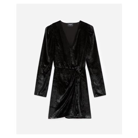 The Kooples - Black velvet wrap dress - WOMEN