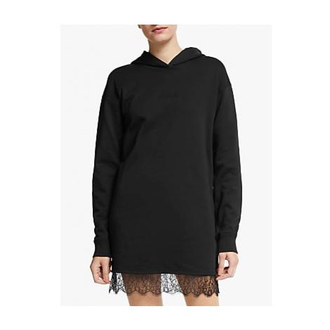 Calvin Klein Jeans Hooded Lace Hem Sweatshirt Dress, CK Black