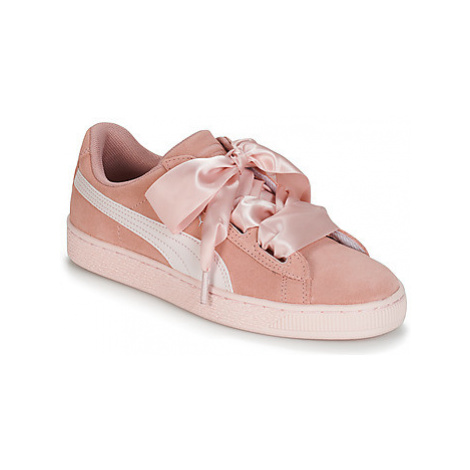 Puma JR SUEDE HEART JEWEL.PEACH girls's Children's Shoes (Trainers) in Pink