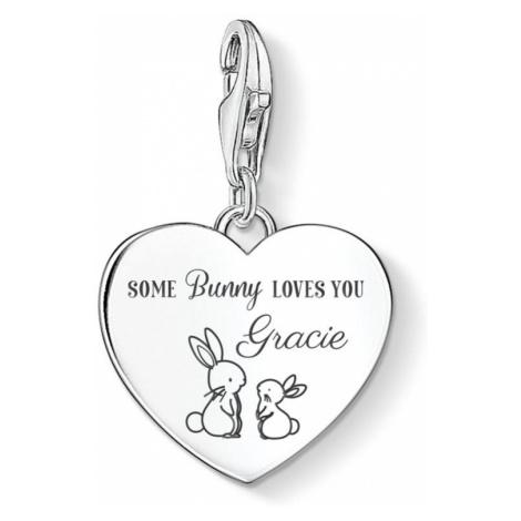 THOMAS SABO Charm Club Silver Some Bunny Loves You Name Heart Charm