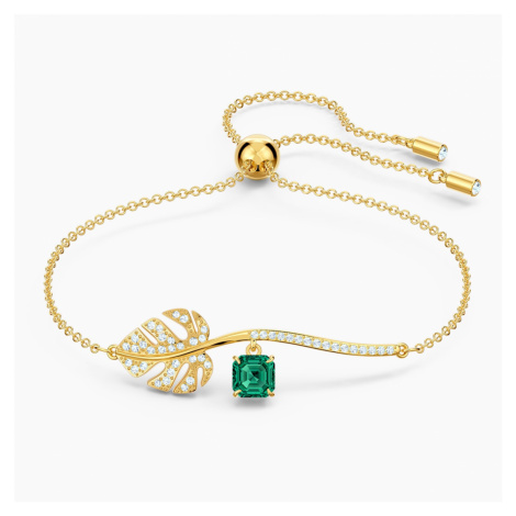Tropical Bracelet, Green, Gold-tone plated Swarovski