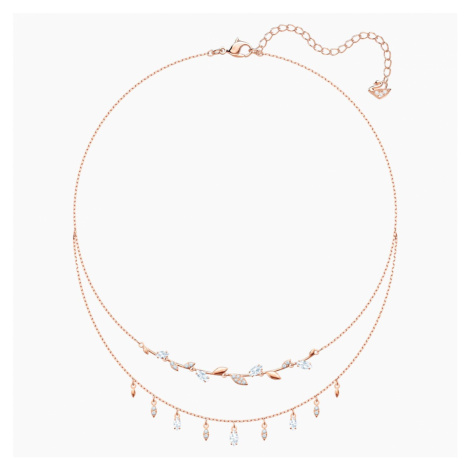 Mayfly Necklace, White, Rose-gold tone plated Swarovski