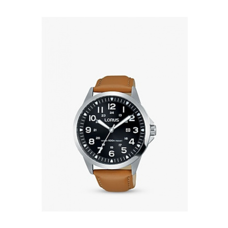 Lorus RH933GX9 Men's Date Leather Strap Watch, Camel/Black