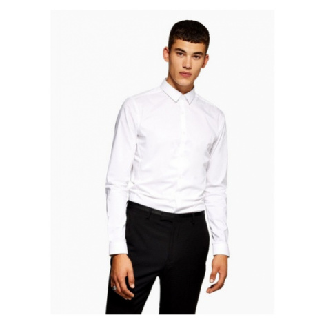 Mens White Stretch Skinny Smart Long Sleeve Shirt, White Topman