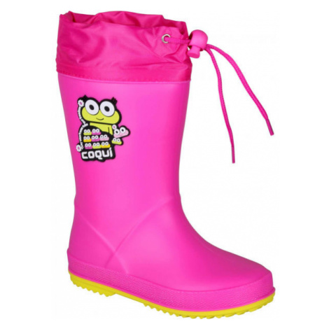 Coqui RAINY COLLAR pink - Children's wellies