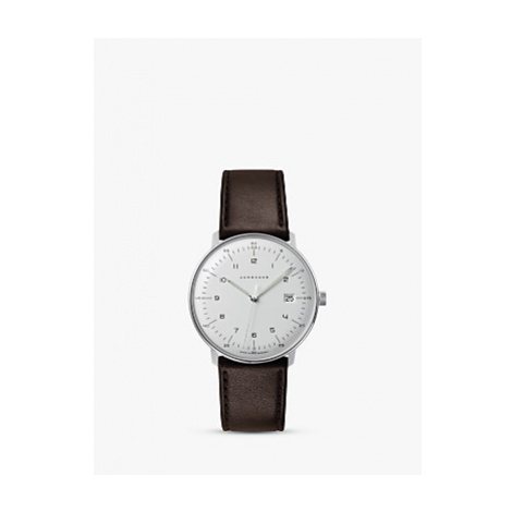 Junghans 041/4461.04 Men's Max Bill Leather Strap Watch, Brown/White