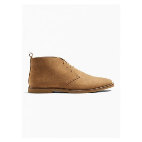 Mens Brown Tan Faux Suede Spark Chukka Boots, Brown Topman