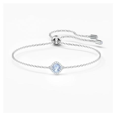 Angelic Cushion Bracelet, Blue, Rhodium plated Swarovski