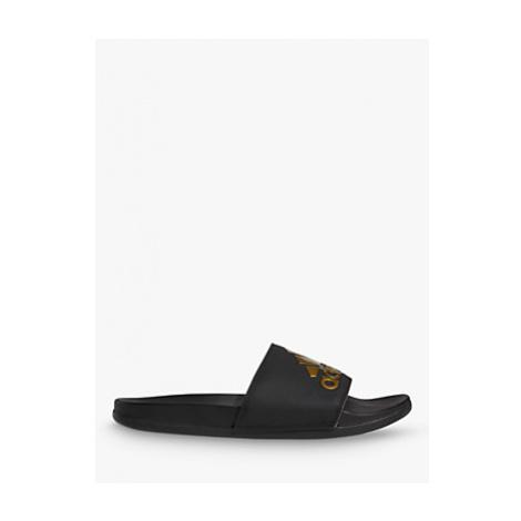Adidas Adilette Aqua Comfort Slides Slippers, Black/Gold/Black
