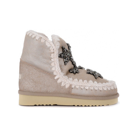 Mou Eskimo 18 Crystal Stars stone metal sheepskin ankle girls's Children's Snow boots in Grey