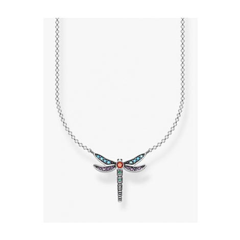 THOMAS SABO Glam & Soul Crystal Crystal Dragonfly Pendant Necklace, Silver/Multi