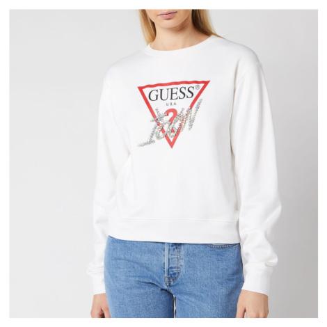 Guess Women's Basic Triangle Embellished Sweatshirt - True White