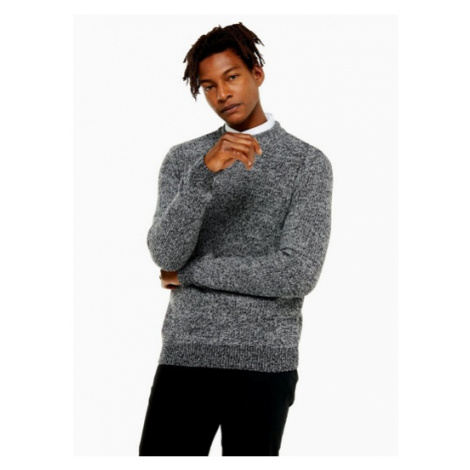 Mens Grey Textured Twisted Turtle Neck Jumper, Grey Topman