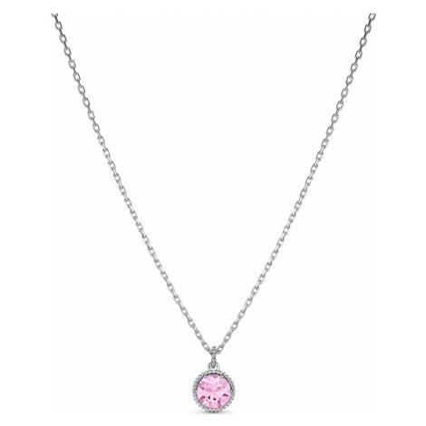 Birthstone Pendant, October, Pink, Rhodium plated Swarovski