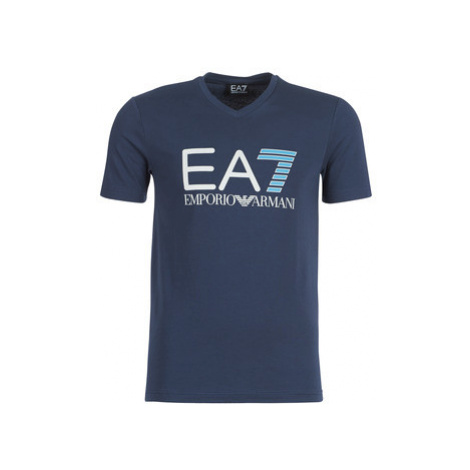 Emporio Armani EA7 TRAIN LOGO SERIES men's T shirt in Blue