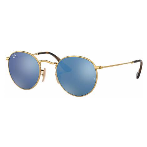 Ray-Ban Round flat lenses Unisex Sunglasses Lenses: Blue, Frame: Gold - RB3447N 001/9O 47-21