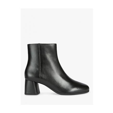 Geox Women's Calinda Leather Mid Block Heel Ankle Boots, Black