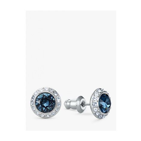 Swarovski Angelic Crystal Round Stud Earrings, Silver/Blue Montana