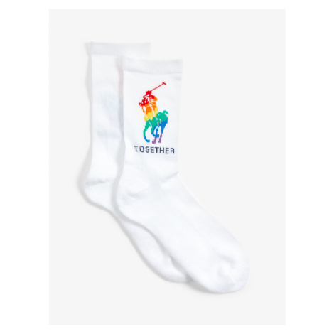 Polo Ralph Lauren Pride Stripes Ankle Socks, White/Multi