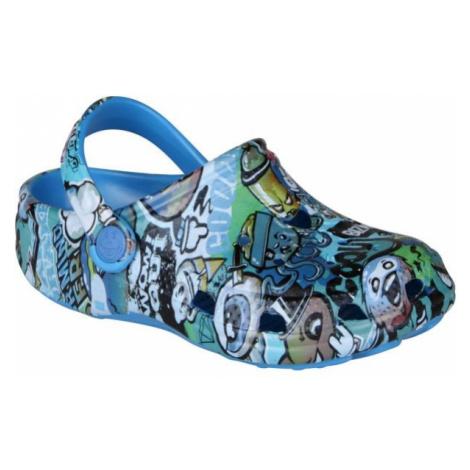 Coqui BIG FROG PRINTED blue - Kids' sandals
