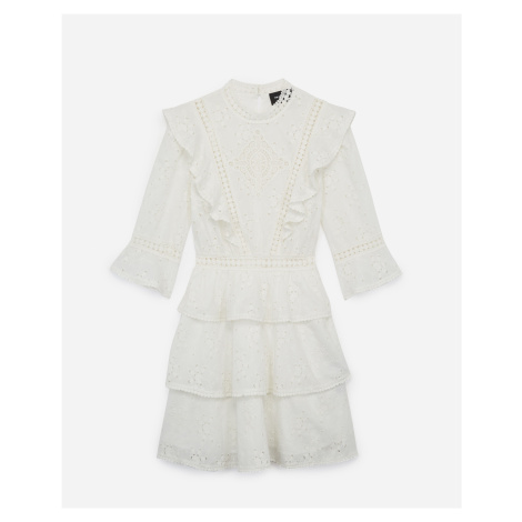 The Kooples - Short ecru lace dress with frills - WOMEN