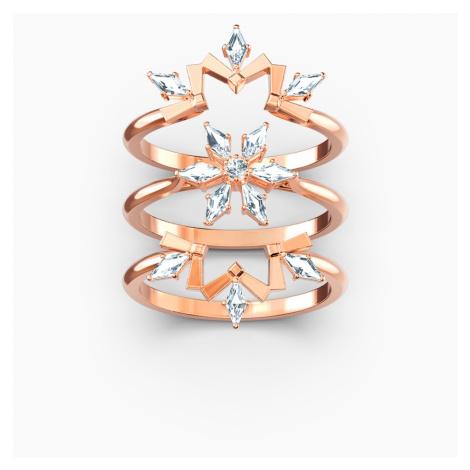 Magic Ring Set, White, Rose-gold tone plated Swarovski
