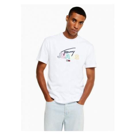 Mens Tommy Jeans White Script T-Shirt, White Tommy Hilfiger