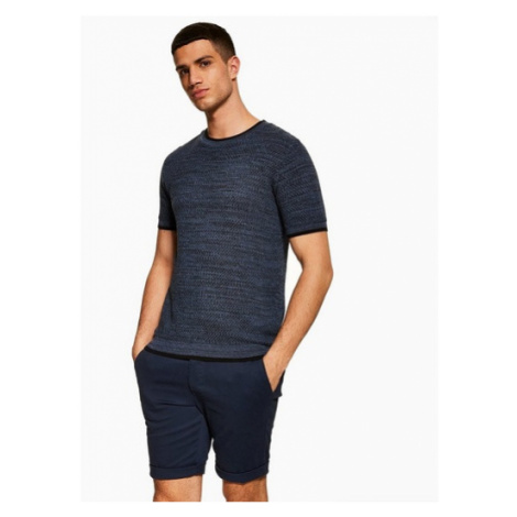 Mens Navy Chino Skinny Shorts, Navy Topman