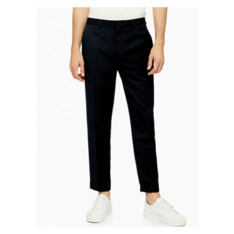 Mens Navy Textured Slim Fit Suit Trousers, Navy Topman