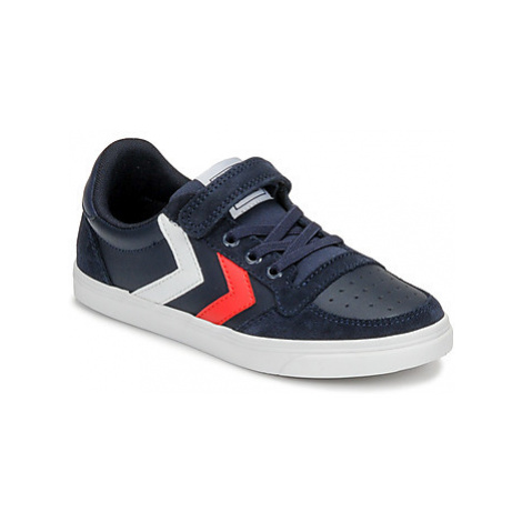 Hummel SLIMMER STADIL LEATHER LOW JR girls's Children's Shoes (Trainers) in Blue