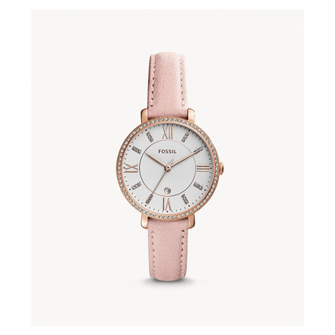 Fossil Women's Jacqueline Three-Hand Date Blush Leather Watch