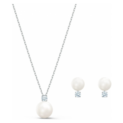 Treasure Pearl Set, White, Rhodium plated Swarovski