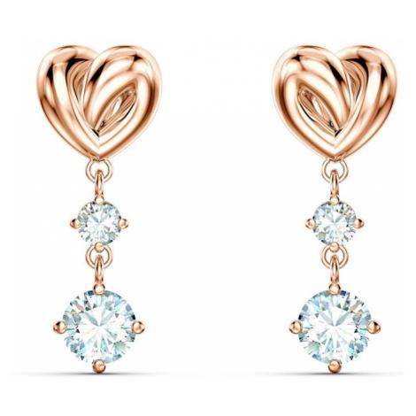 Swarovski Lifelong White Crystal Rose Gold Plated Heart Earrings
