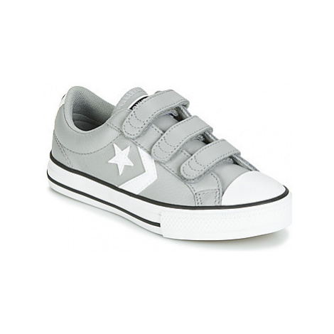 Converse STAR PLAYER EV 3V LEATHER OX girls's Children's Shoes (Trainers) in Grey