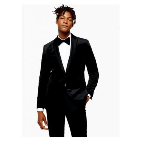 Mens Black Skinny Fit Single Breasted Velvet Blazer With Peak Lapels, Black Topman
